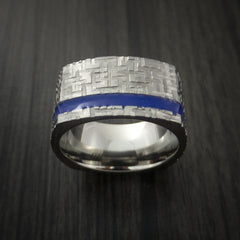 Square Titanium Ring Modern Design Band Custom Made with Comfort Fit Color Inlay - Revolution Jewelry  - 4