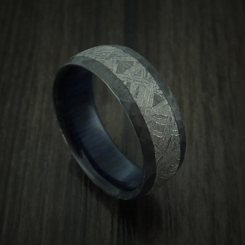Black Zirconium Hammered Ring with Gibeon Meteorite Inlay and Hardwood Sleeve Custom Made
