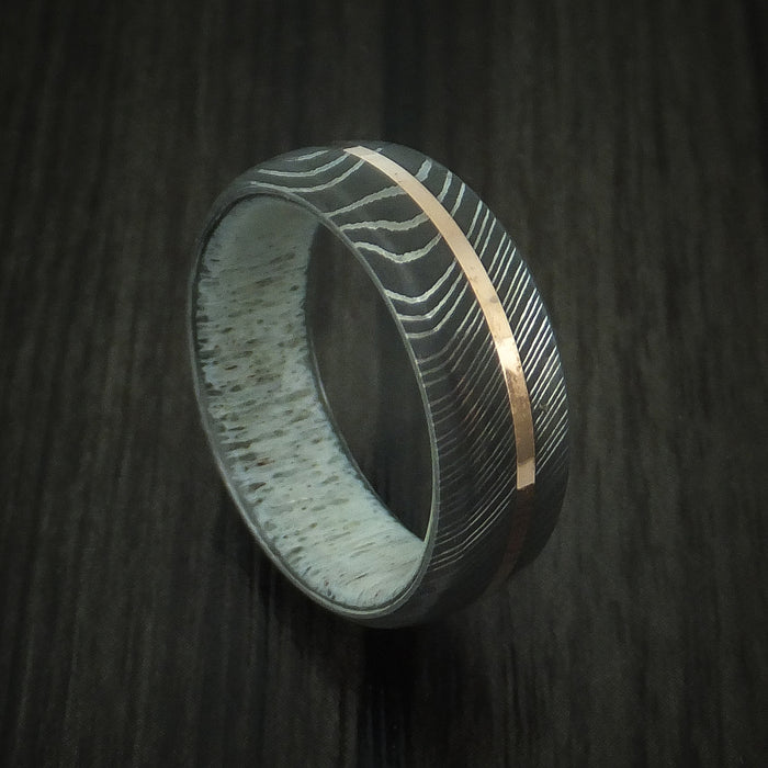 Damascus Steel Ring with 14K Rose Gold Inlay and Antler Sleeve Custom Made Wood Band