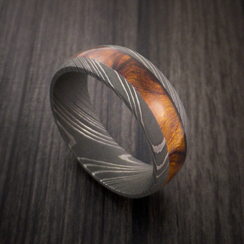 Wood Ring and DAMASCUS Ring inlaid with DESERT IRONWOOD BURL HARDWOOD Custom Made