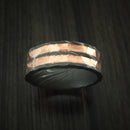 Damascus Steel and Copper Rock Hammer Ring Custom Made