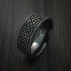 Black Zirconium Celtic Irish Knot Ring Custom Made Band