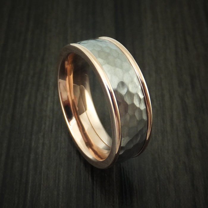 14K Rose Gold and Titanium Band with Hammer Finish Custom Made