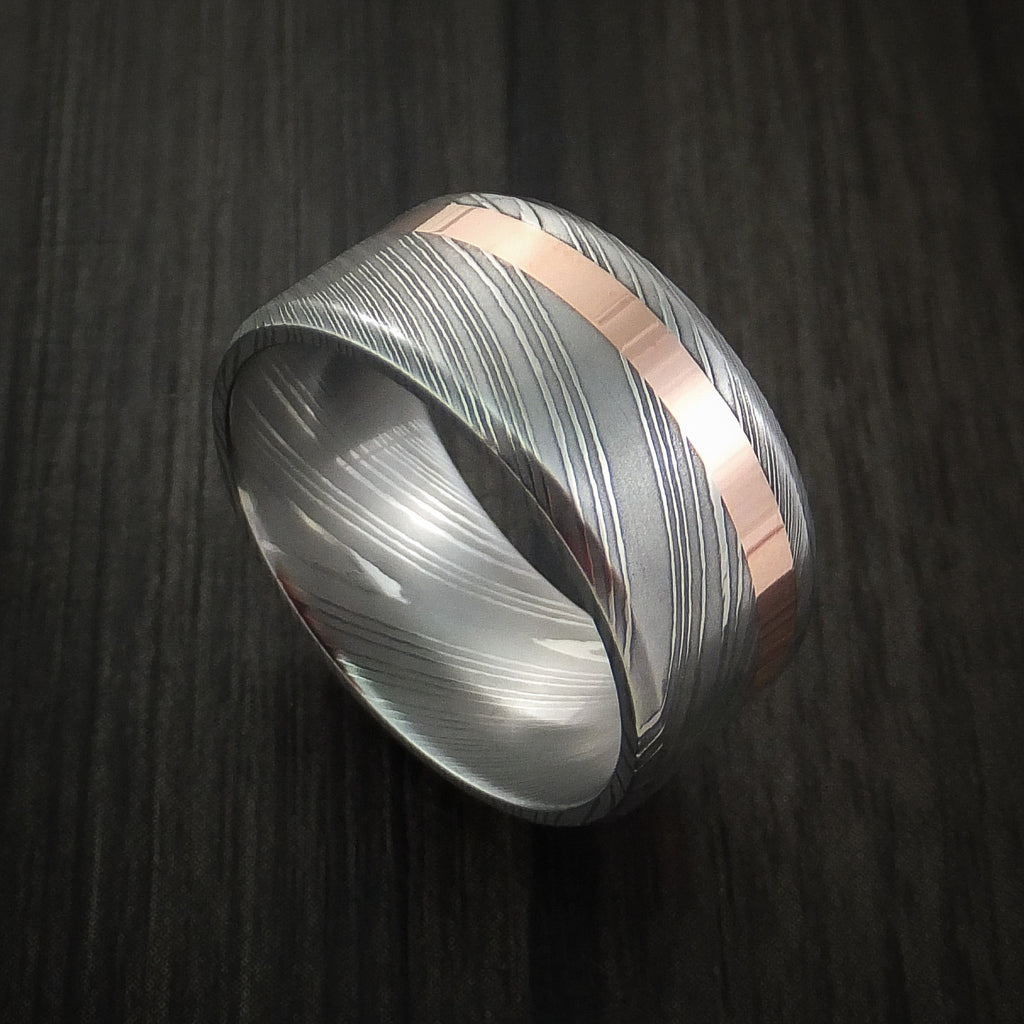 Damascus Steel Wide 14K Rose Gold Ring Wedding Band Custom Made