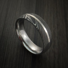 Damascus Steel 14K White Gold Ring Wedding Band Custom Made by Revolution Jewelry