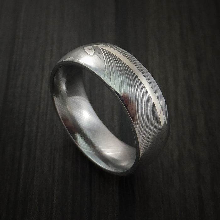Damascus Steel 14K White Gold Ring Wedding Band Custom Made