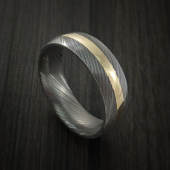 Damascus Steel 14K Yellow Gold Ring Wedding Band by Revolution Jewelry