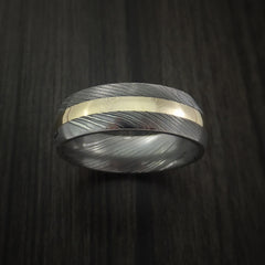 Damascus Steel 14K Yellow Gold Ring Wedding Band - Revolution Jewelry  - 2