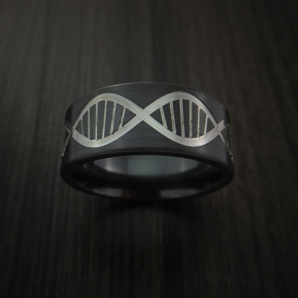 Black Zirconium Wide DNA Strand Ring Customad-Made Band Any Finish and Sizing