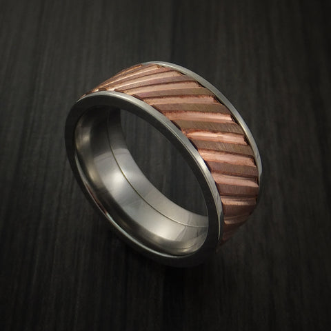 Copper Inlay Spinner Unique Titanium Band Custom Made