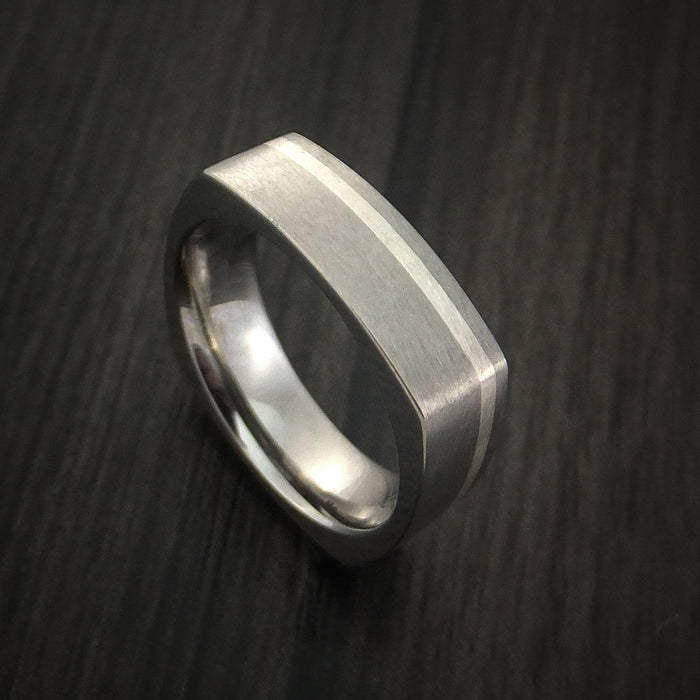 Titanium Ring with Silver Inlay Square Band Custom Made