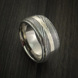 Wide Damascus Steel with Palladium and Silver Mokume Ring Custom Made