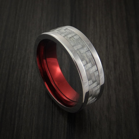 Titanium Ring with Silver Texalium Inlay with Carbon Fiber Style Weave Pattern and Red Anodized Interior