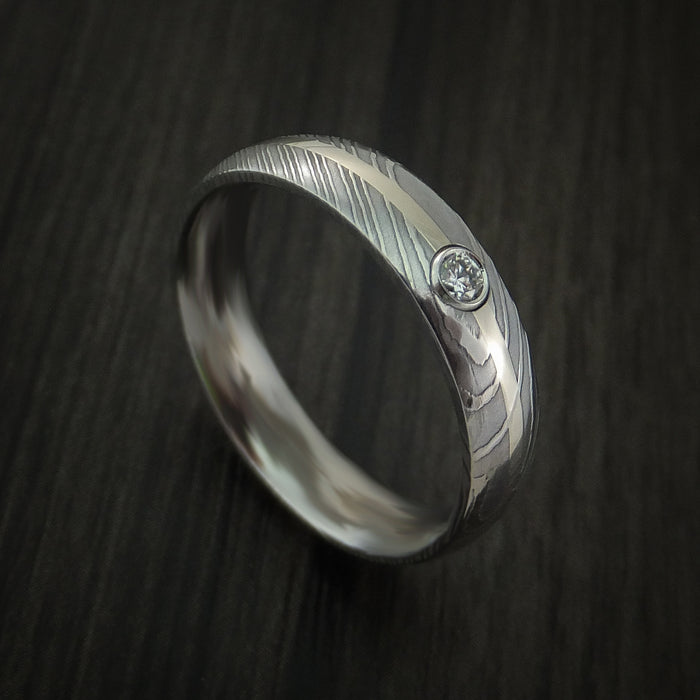 Damascus Steel 14K White Gold Ring with Beautiful Diamond Wedding Band