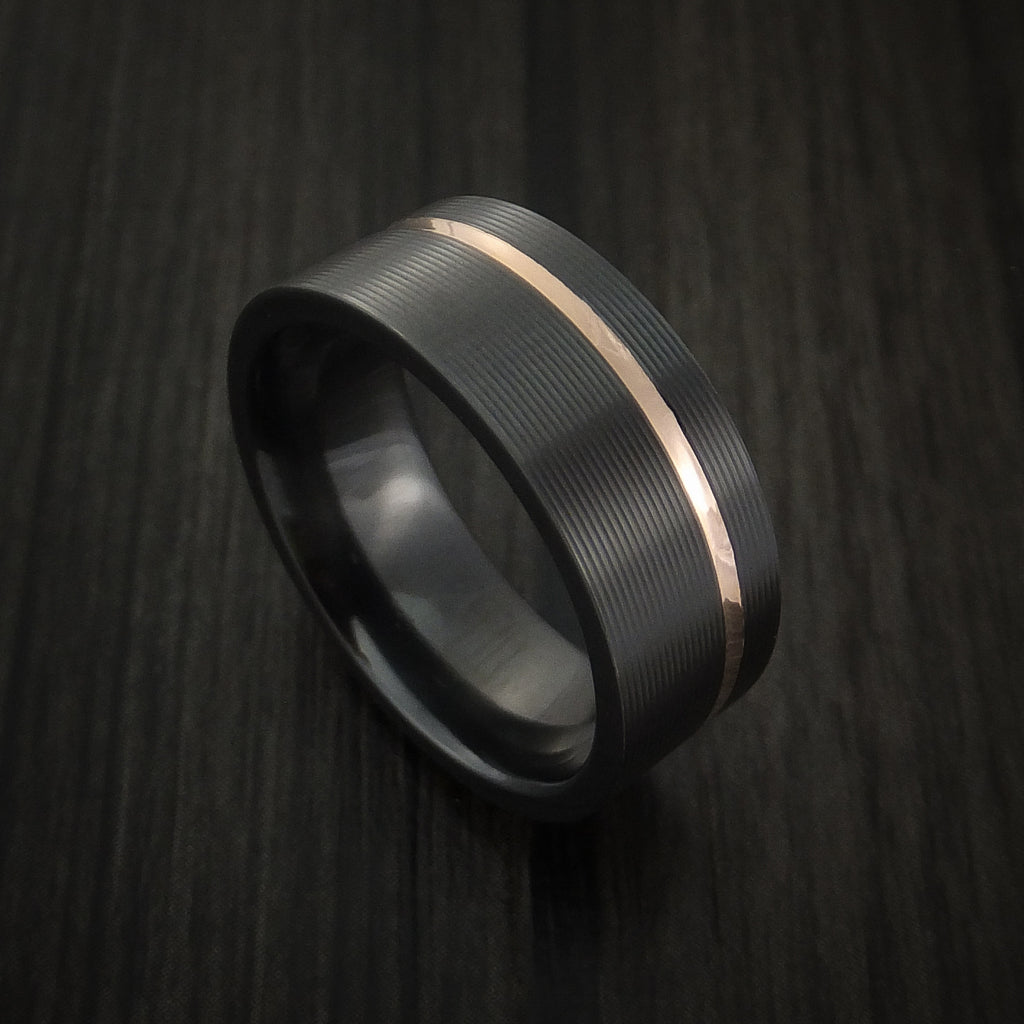 Black Zirconium Ring Textured Pattern Band with Gold Inlay Made to Any Sizing and Finish