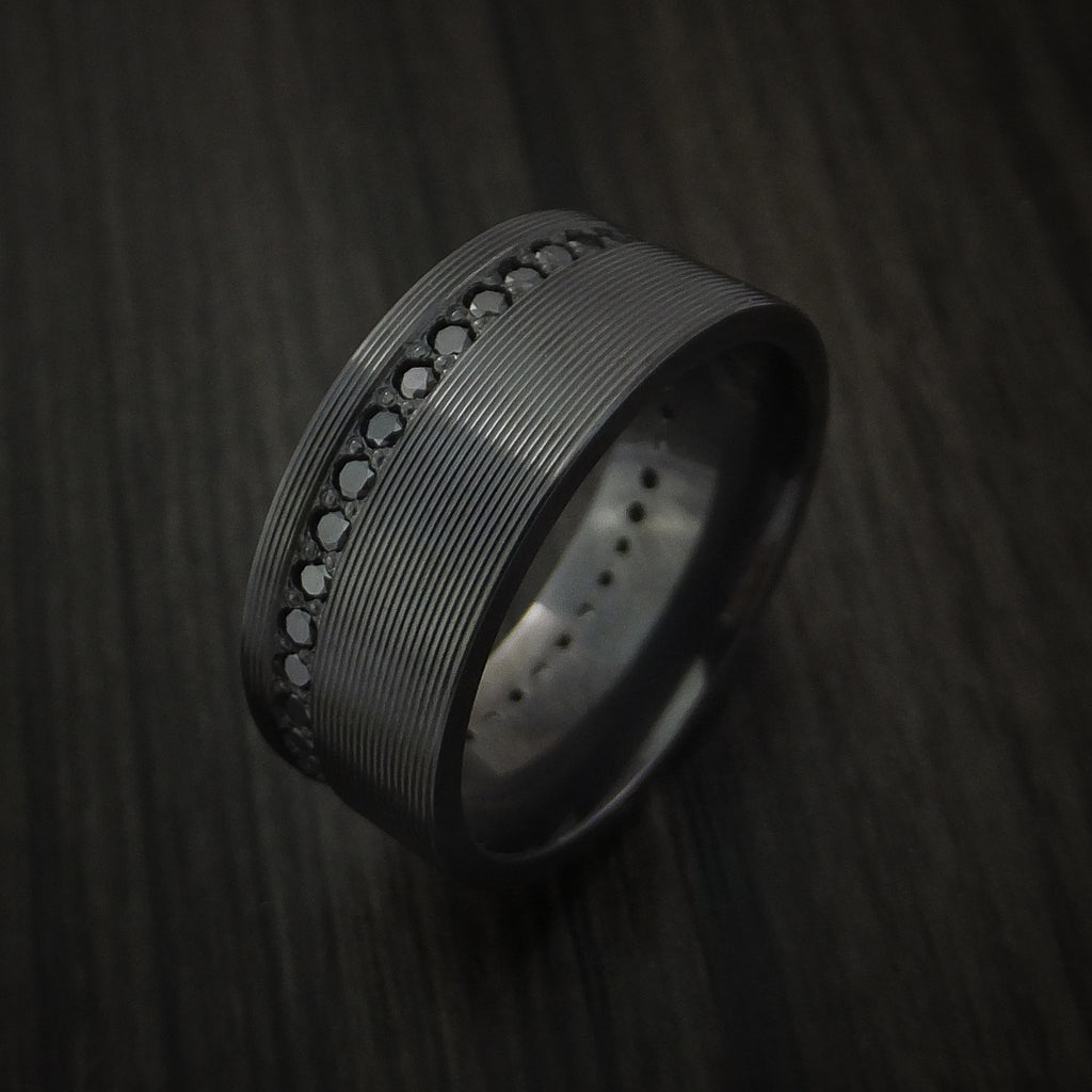 Black Zirconium Eternity Band with Stunning Black Diamonds