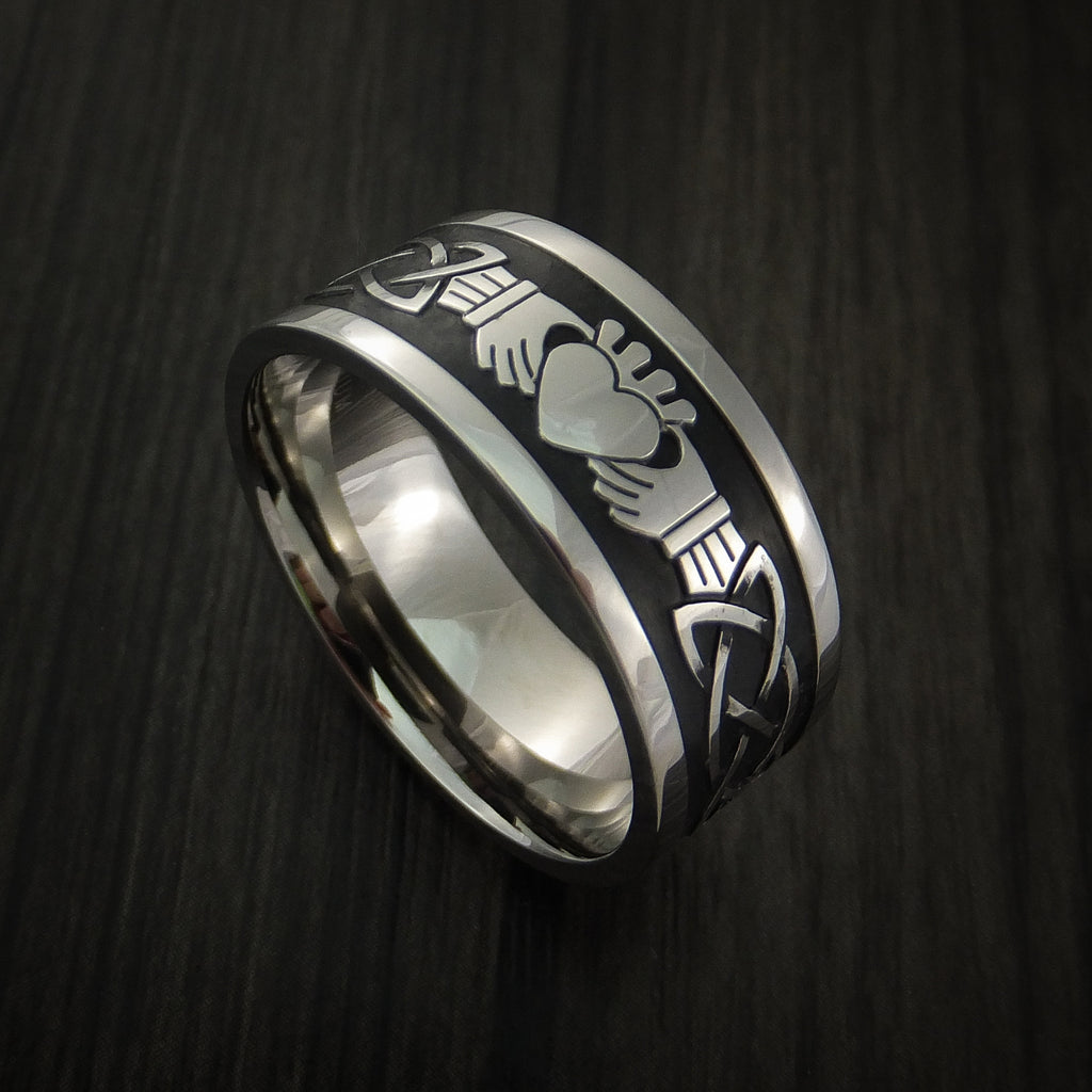 Titanium Celtic Irish Claddagh Ring Hands Clasping a Heart Carved Cerakote Band