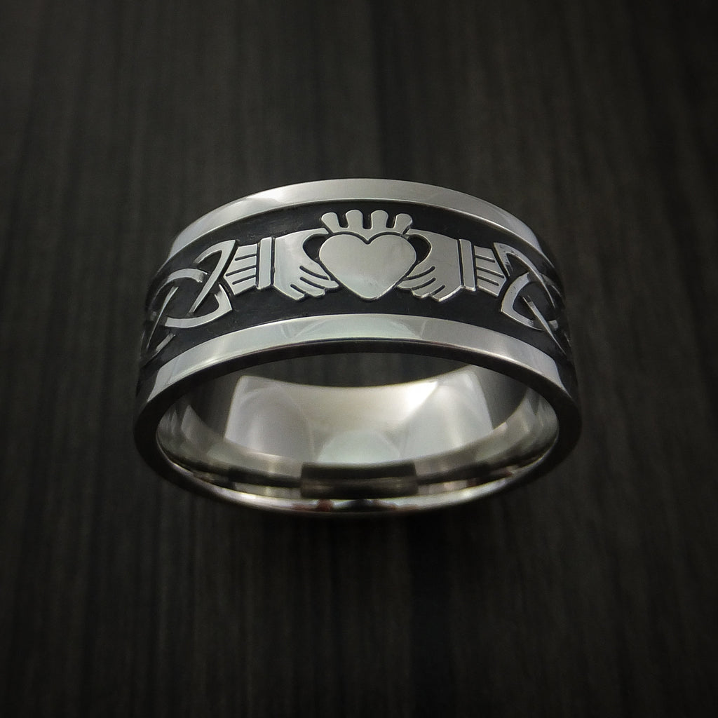 Titanium Celtic Irish Claddagh Ring Hands Clasping a Heart Band Carved