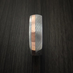 Damascus Steel and Copper Ring Wedding Band Custom Made by Revolution Jewelry