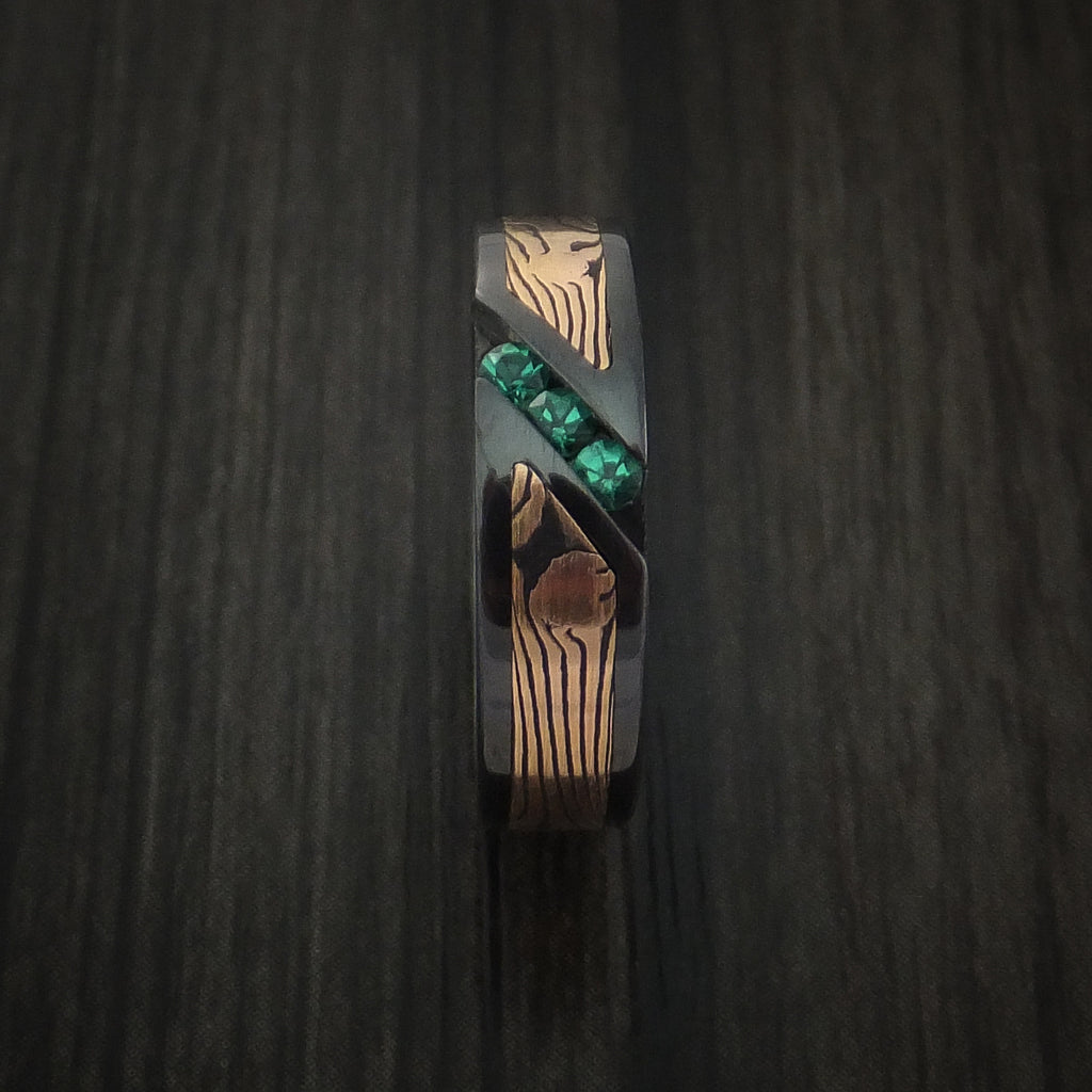 Black Zirconium Ring with Rose Gold Mokume and Sapphires