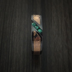 Black Zirconium Ring with Rose Gold Mokume and Sapphires by Revolution Jewelry