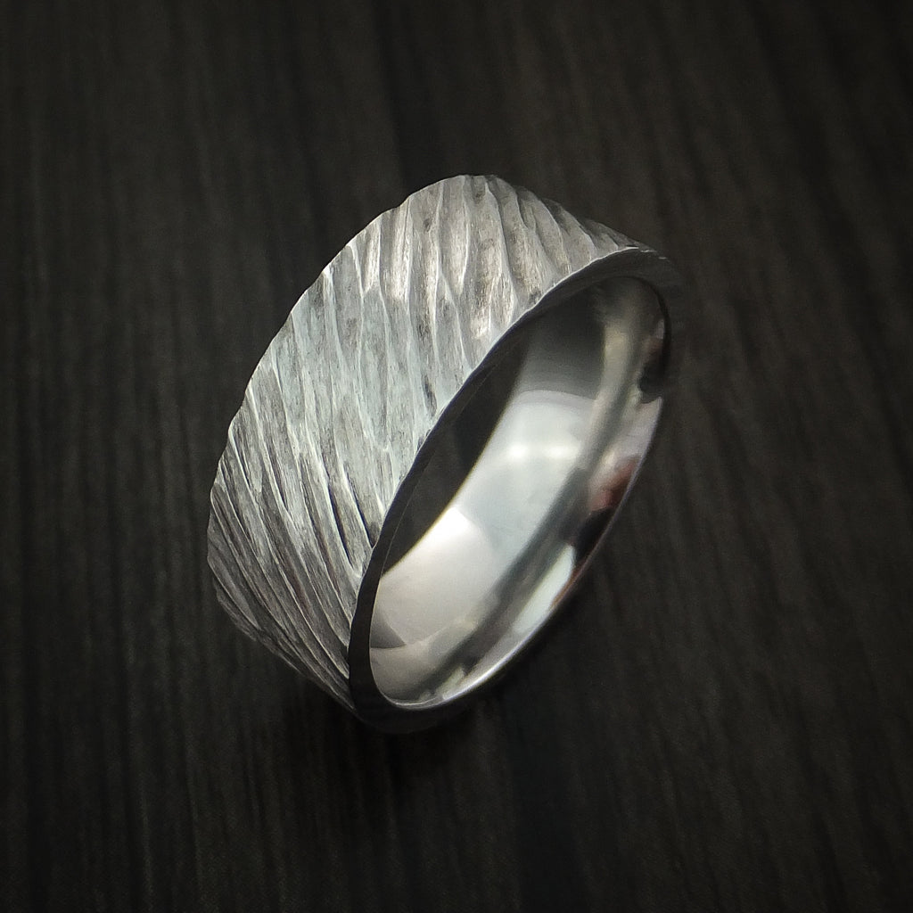 Cobalt Chrome Tree Bark Band Unique Texture Ring Made to Any Sizing and Finish 4-22