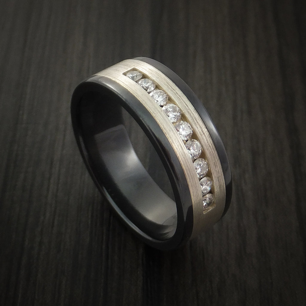 Black Zirconium Band with Silver and Diamonds