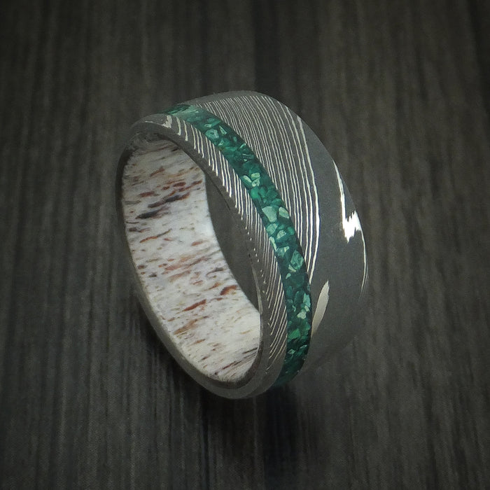 Damascus Steel Ring with Malachite and Antler Custom Made