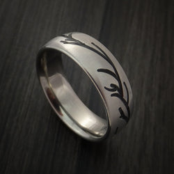 Titanium Band with Tree Branch Design Custom Made