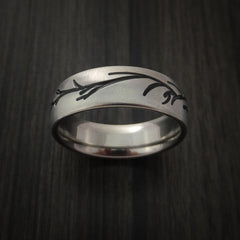 Titanium Band with Tree Branch Design Custom Made - Revolution Jewelry  - 2