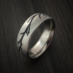 Titanium Band with Tree Branch Design Custom Made - Revolution Jewelry  - 3