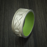 14K White Gold Celtic Band with Cerakote Sleeve Custom Made
