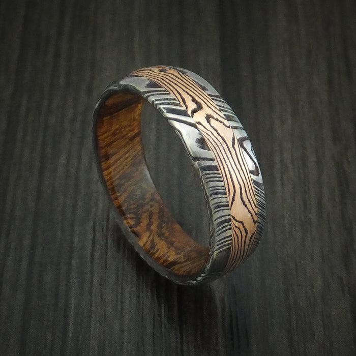 Kuro Damascus Steel Ring with 14K Rose Gold Mokume Shakudo Inlay and Desert Ironwood Burl Wood Sleeve Custom Made Band