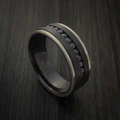 Black Zirconium Band with 14K White Gold Edges and 12 Beautiful Black Diamonds by Revolution Jewelry