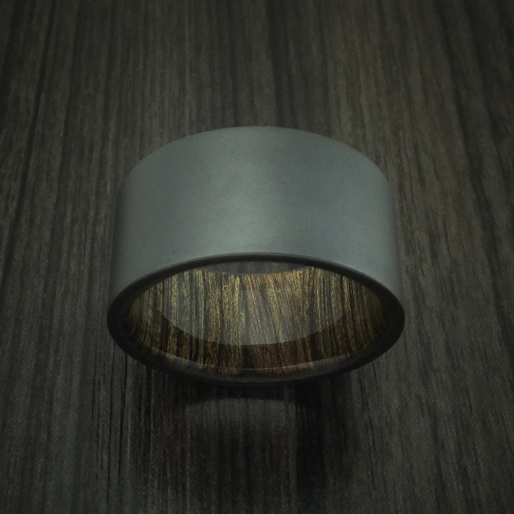 Black Zirconium and Walnut Wood Sleeve Ring Custom Made