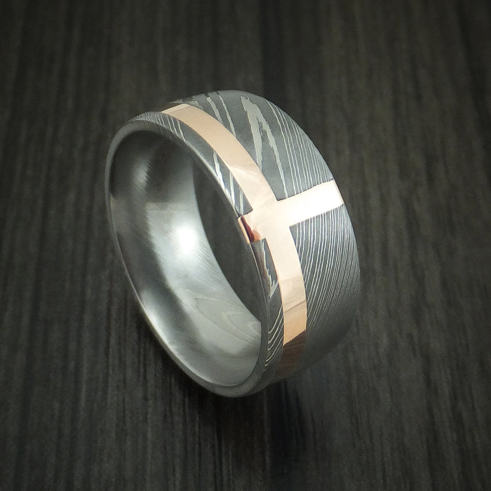 Damascus Steel and 14K Rose Gold Band Custom Made