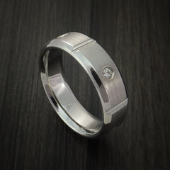 Cobalt Chrome Five Section Ring with Round Cut Diamonds Custom Made Band by Revolution Jewelry