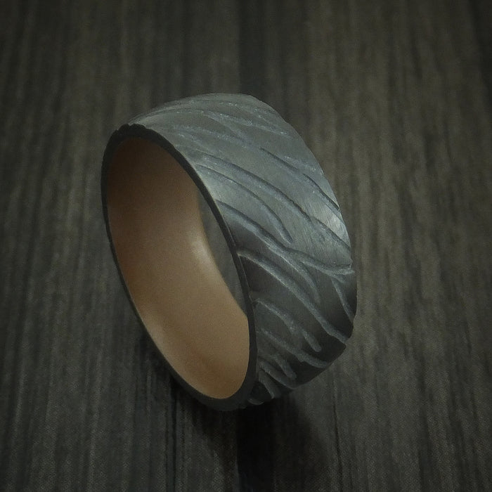 Black Zirconium Ring with Copper Brown Cerakote Sleeve Custom Made Band