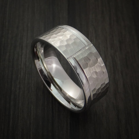 Cobalt Chrome Hammered Ring with Modern Design Custom Made Band
