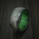 Black Zirconium and Hammered Damascus Steel Band with Hardwood Sleeve Custom Made Ring