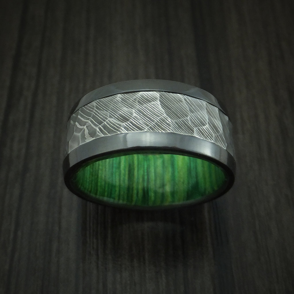 Black Zirconium and Hammered Damascus Steel Band with Jade Wood Custom Made Ring