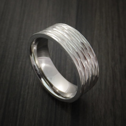 Cobalt Chrome Tree Bark Band Unique Texture Ring Made to Any Size