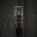 Damascus Steel Ring with Ember Wood Inlay and Sleeve Custom Made Thick Band