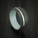 Damascus Steel Band with 14k White Gold and Antler Sleeve Custom Made