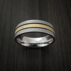 Cobalt Chrome Band with 14K Yellow Gold Florentine Inlay Custom Made Ring by Revolution Jewelry