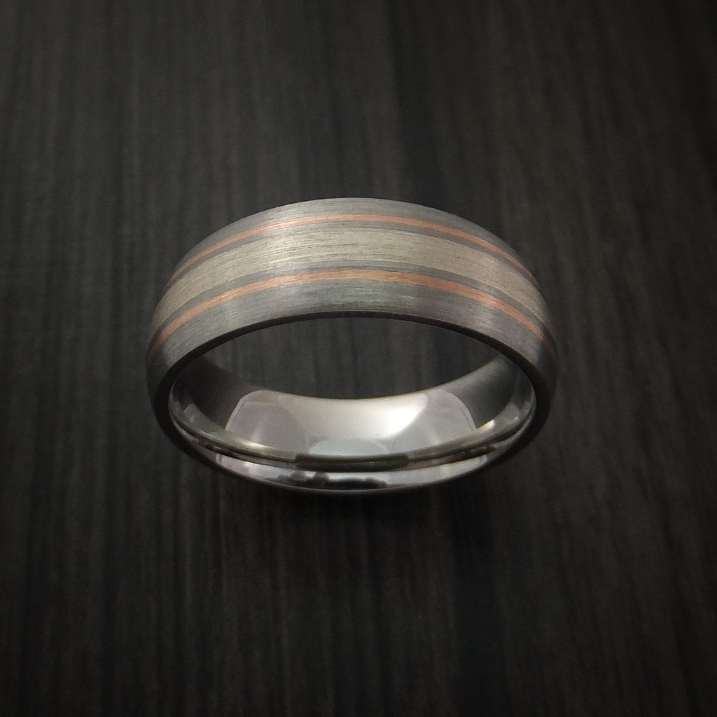 Cobalt Chrome Band with Silver Inlay and 14K Rose Gold Inlays Custom Made