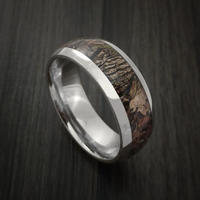 King's Camo WOODLAND SHADOW and 14K White Gold Ring Camo Style Band Made Custom