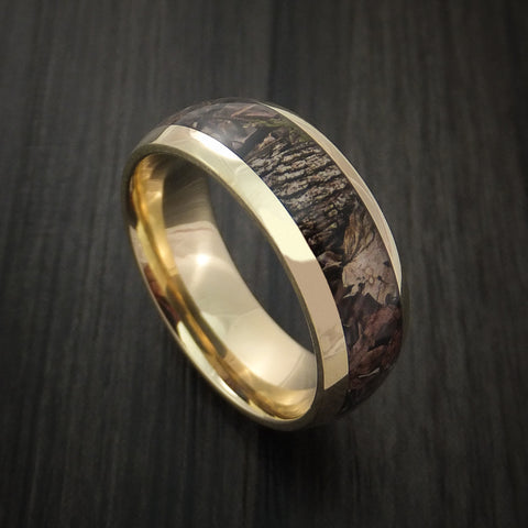 King's Camo WOODLAND SHADOW and 14K Yellow Gold Ring Camo Style Band Made Custom