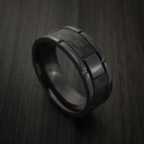 Black Zirconium and Carbon Fiber Weave Pattern Ring Custom Made