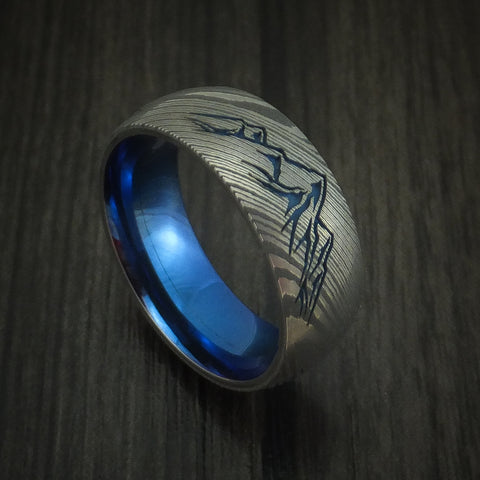 Damascus Steel Ring with Mountain Range and Anodized Titanium Interior Sleeve Custom Made